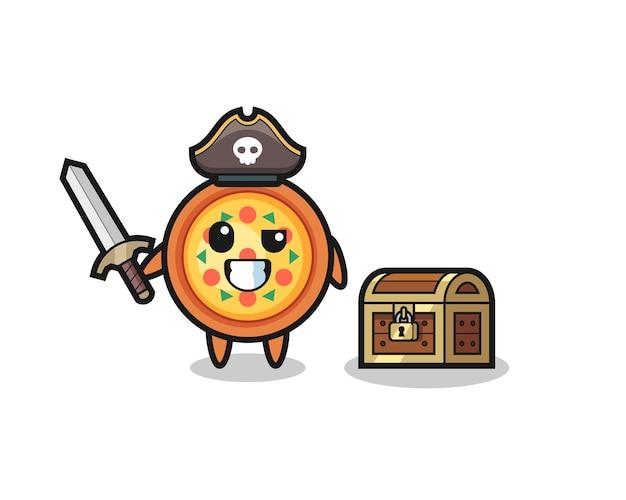 Le personnage de pirate de pizza tenant l'épée à côté d'un coffre au trésor, design de style mignon pour t-shirt, autocollant, élément de logo