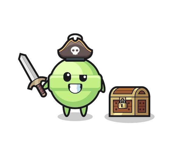 Le personnage de pirate de sucette tenant l'épée à côté d'une boîte au trésor, design de style mignon pour t-shirt, autocollant, élément de logo