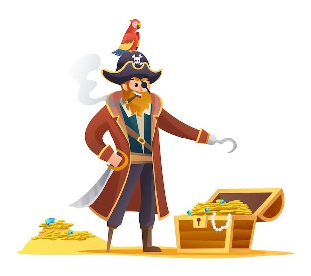 Personnage de pirate tenant une épée avec un perroquet et un personnage de dessin animé au trésor