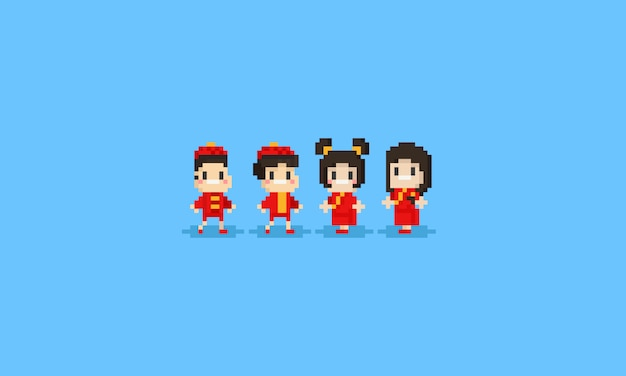 Personnage pixel en costume chinois
