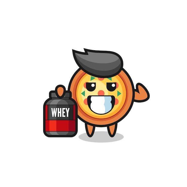 Le personnage de pizza musclé tient un supplément de protéines, un design de style mignon pour un t-shirt, un autocollant, un élément de logo