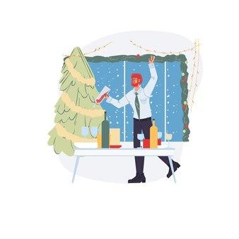 Personnage plat de dessin animé se réjouir, célébration de joyeux noël et bonne année avec arbre de noël