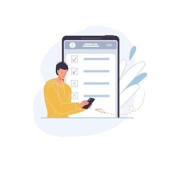 Personnage plat de dessin animé de vecteur passant un sondage en ligne, un test, un examen et des résultats de vérification sur des appareils de téléphonie mobile à écran, des moniteurs - concept d'éducation et d'examen en ligne à distance