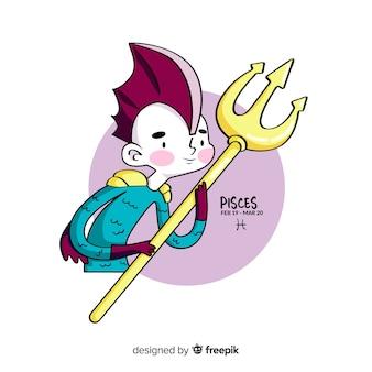 Personnage de poisson guerrier dessiné à la main