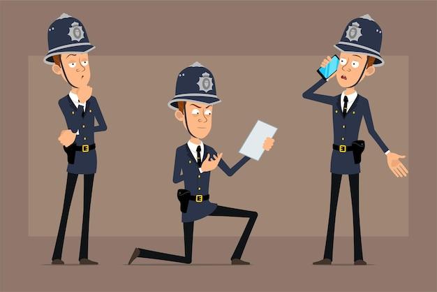 Personnage de policier britannique drôle de dessin animé en chapeau de casque bleu et uniforme. garçon pensant, parlant au téléphone et lisant une note papier.