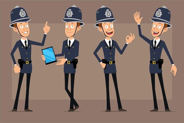 Personnage de policier britannique drôle de dessin animé en chapeau de casque bleu et uniforme. garçon tenant une tablette intelligente, montrant l'attention et le signe correct.