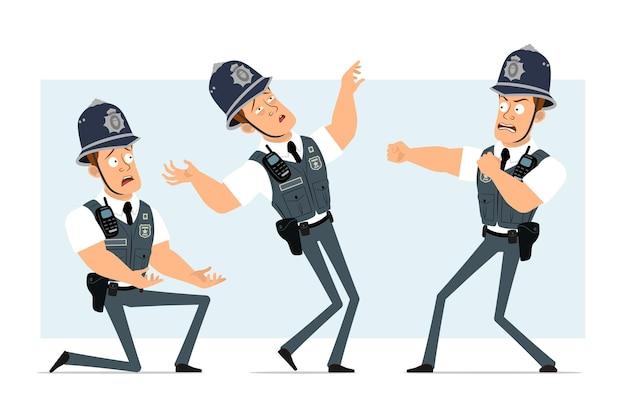 Personnage de policier fort drôle de dessin animé en gilet pare-balles avec radio. garçon se battant, retombant et debout sur le genou.