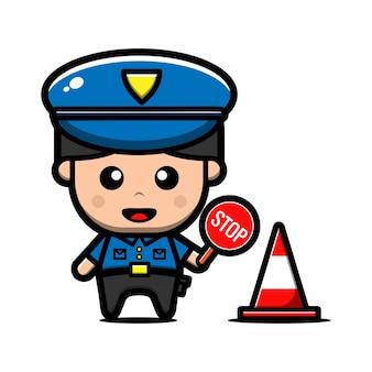Personnage de policier mignon
