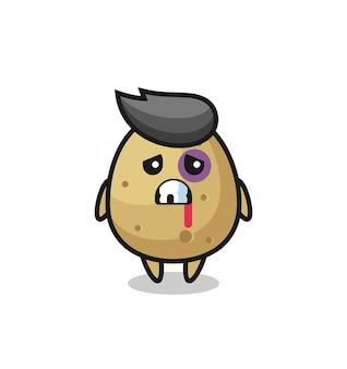 Personnage de pomme de terre blessé avec un visage meurtri, design de style mignon pour t-shirt, autocollant, élément de logo