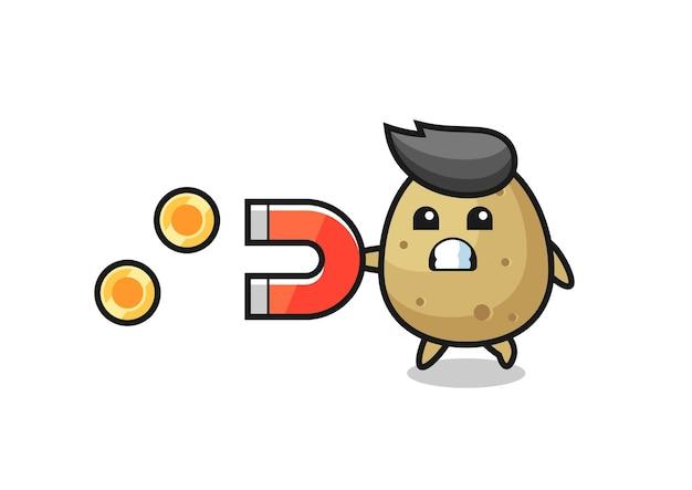 Le personnage de la pomme de terre tient un aimant pour attraper les pièces d'or, design de style mignon pour t-shirt, autocollant, élément de logo