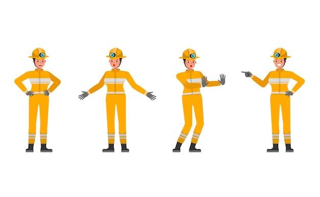 Personnage de pompier femme dans diverses actions