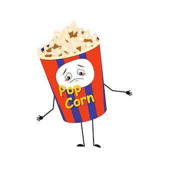 Personnage de pop-corn mignon dans une boîte de vacances avec des émotions tristes déprimé face vers le bas yeux bras et jambes amusant...