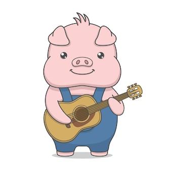 Personnage de porc mignon jouant de la guitare