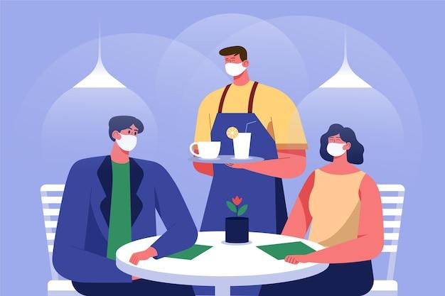 Personnage portant un masque en tissu servant la nourriture