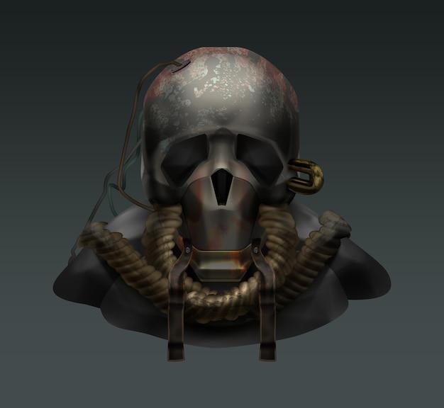 Personnage post-apocalyptique effrayant avec masque à gaz