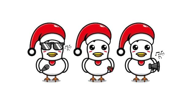 Personnage de poulet drôle mignon célébrant noël personnage de dessin animé kawaii ligne plate de vecteur