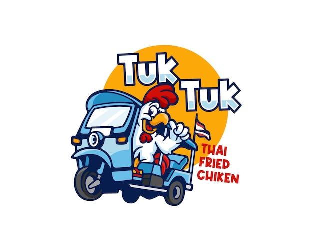 Personnage de poulet thaï funky chevauchant un tuk tuk