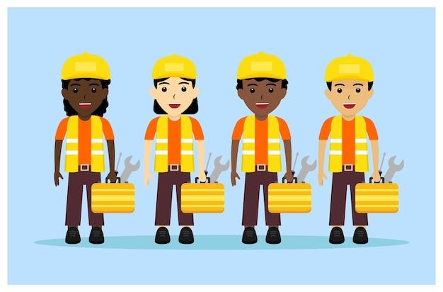 Personnage de la profession de plombier au design plat