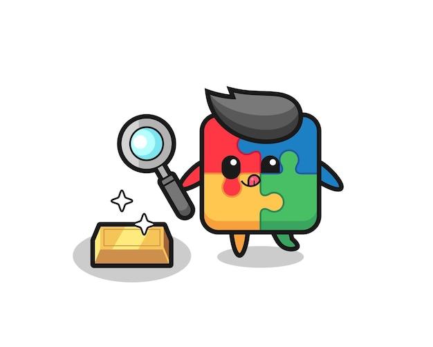Le personnage de puzzle vérifie l'authenticité des lingots d'or, un design de style mignon pour un t-shirt, un autocollant, un élément de logo