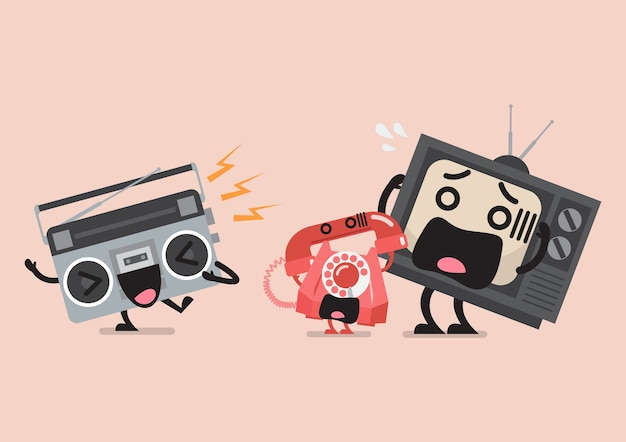 Personnage de radio chantant agaçant le téléphone et la télévision