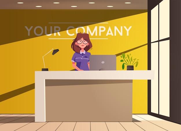 Personnage de réceptionniste femme debout et souriant
