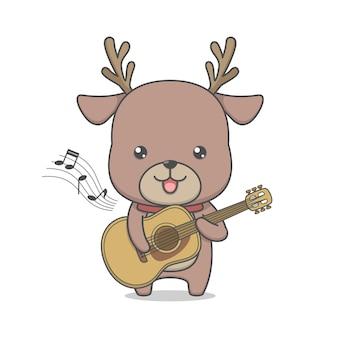 Personnage de renne mignon jouant de la guitare