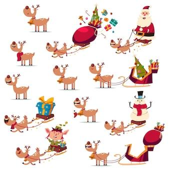 Personnage de renne de noël avec différentes émotions, traîneau et père noël. jeu de dessin animé de vecteur isolé sur fond blanc.