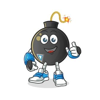 Personnage de robot bombe. mascotte de dessin animé