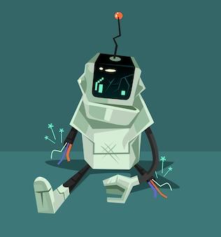 Personnage de robot cassé, illustration de dessin animé plat