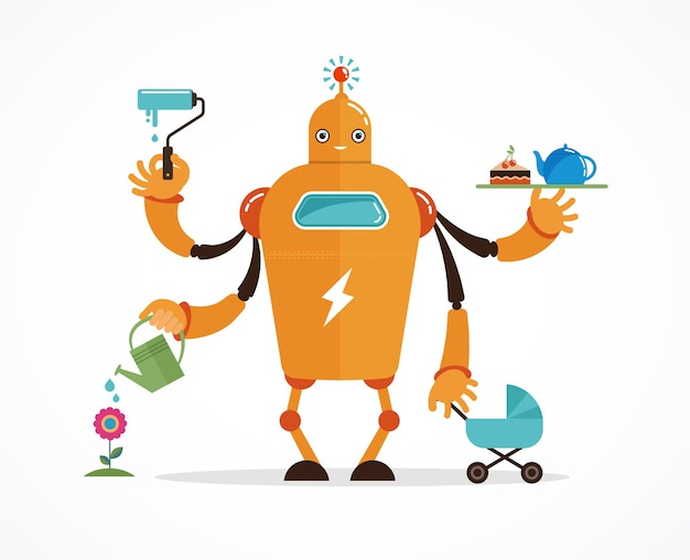 Personnage de robot multitâche