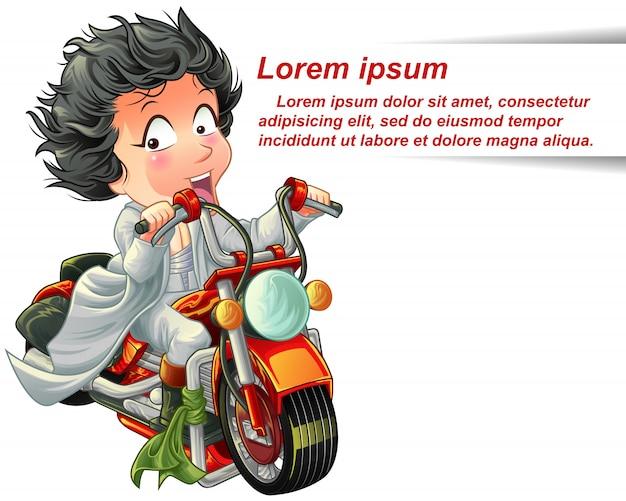 Le personnage roule avec une puissante moto rouge rapide.
