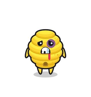 Personnage de ruche d'abeilles blessé avec un visage meurtri, design mignon