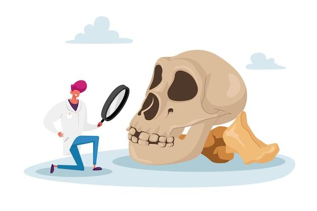 Personnage scientifique regardant à travers une loupe sur un énorme skul humain
