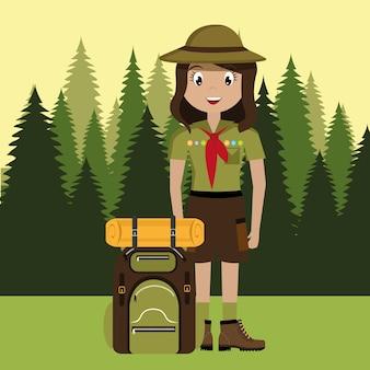 Personnage scout avec conception de sac de voyage isolé icône