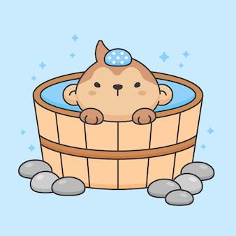 Personnage de singe mignon dans onsen