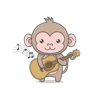 Personnage de singe mignon jouant de la guitare