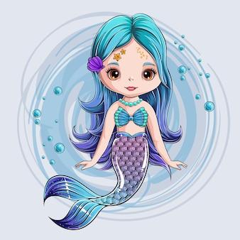 Personnage de sirène mignon dessiné à la main. princesse sirène souriante