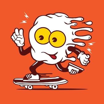 Personnage De Skateboard Aux œufs Au Plat Vecteur Premium