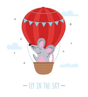Personnage de souris volant dans un ballon à air isolé.