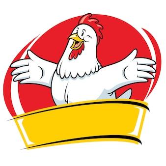 Personnage de style mascotte de dessin animé de poulet