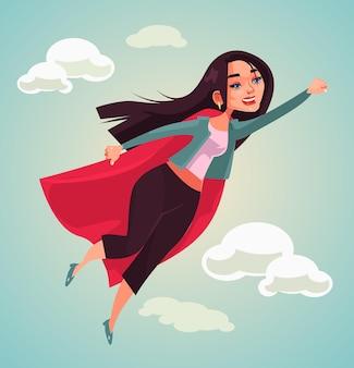 Personnage de super femme volant illustration de dessin animé plat