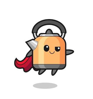 Le personnage de super-héros de bouilloire mignon vole, design de style mignon pour t-shirt, autocollant, élément de logo