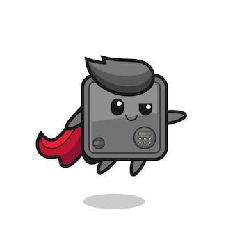 Le personnage de super-héros de coffre-fort mignon vole, design de style mignon pour t-shirt, autocollant, élément de logo