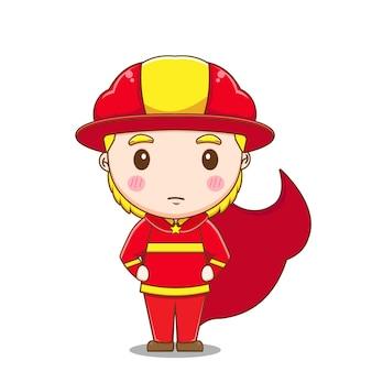 Personnage de super-héros pompier mignon