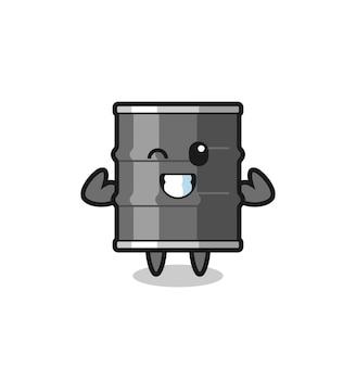 Le personnage de tambour à huile musculaire pose en montrant ses muscles, un design mignon