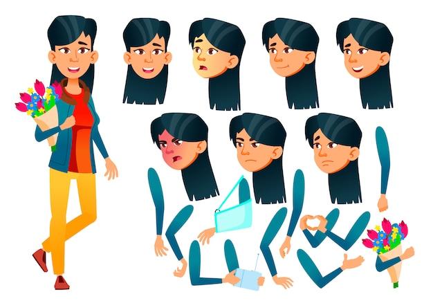 Personnage teen girl. asiatique. création constructeur pour l'animation. face aux émotions, les mains.