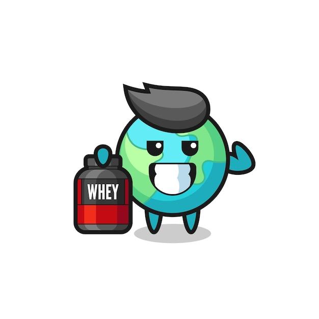 Le personnage de la terre musculaire tient un supplément de protéines, un design de style mignon pour un t-shirt, un autocollant, un élément de logo