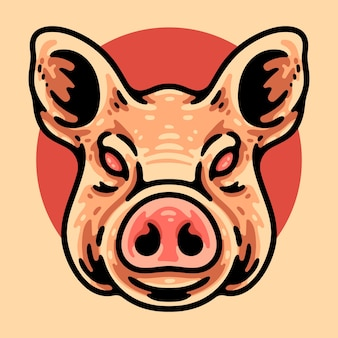 Personnage de tête de cochon isolé sur beige