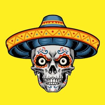 Personnage de tête de crâne mexicain