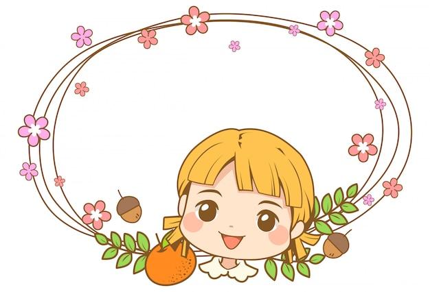 Personnage de tête de jolie fille avec cadre de vigne à fleurs